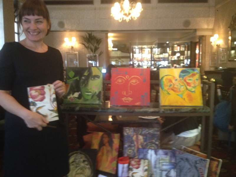 Paintings by IIFA students on display at one of the leading restaurants in London, Richoux in Mayfair. The paintings will be part of the Indian Art Week to be held in London from the 10th until the 17th of June, 2014.